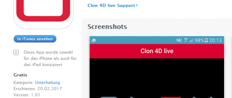 Augmented Reality App Clon 4D Live zum Download Android und IOS